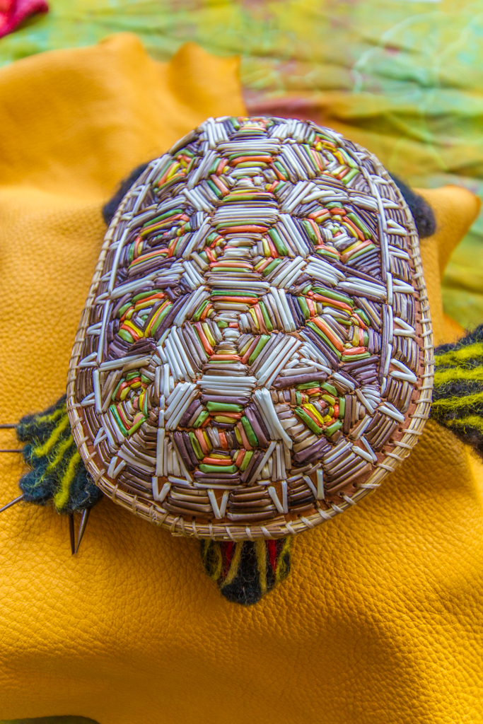 Turtle made from dyed quills
