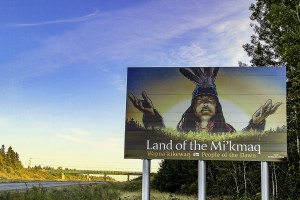 The Province of Nova Scotia commissioned Leonoard Paul to create a welcome sign at the Nova Scotia-New Brunswick border./Photo by Stephen Brake