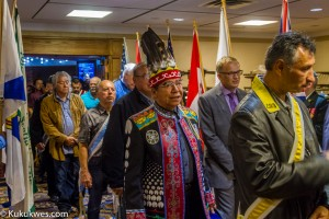 The veterans march was held at the World Trade and Convention Centre due to the rainy weather/Photo by Stephen Brake