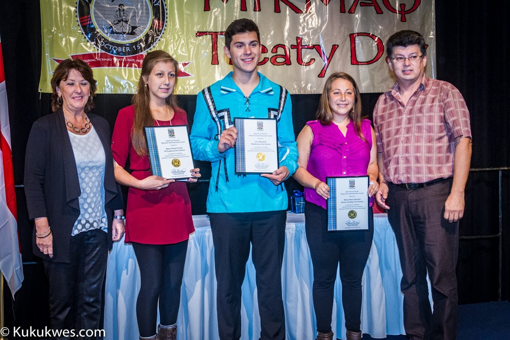 2015 Chief Noel Doucette Memorial, Youth Achievement Award recipients: Mary Gould (second from left, Levi Marshall and Haley Bernard/Photo by Stephen Brake