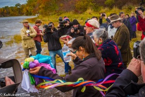 Ethan Hawke took part in a water ceremony in Paqtnkek along the shores of Pomquet Harbour Oct. 26/Photo by Stephen Brake