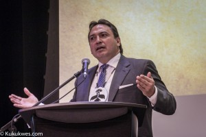 AFN National Chief Perry Bellegarde addresses the audience at the public forum/Photo by Stephen Brake