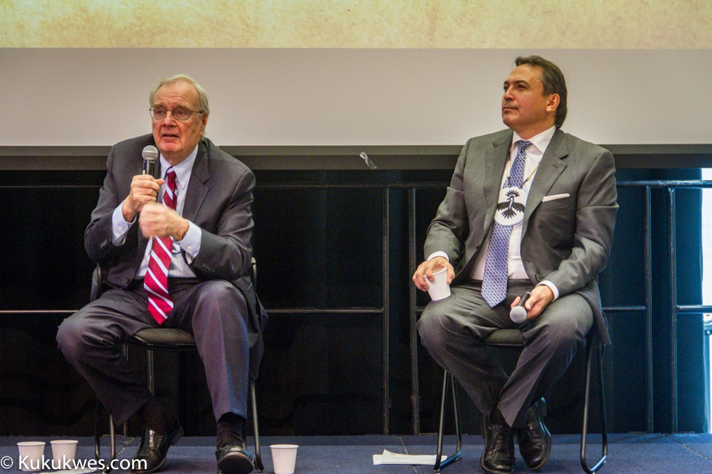 Former PM Paul Martin & AFN National Chief Perry Bellegarde take audience questions/Photo by Stephen Brake