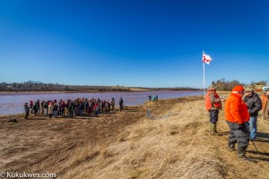 A water ceremony was held along the banks of the Shubenacadie River near the Alton Gas project site Sunday/Photo by Stephen Brake