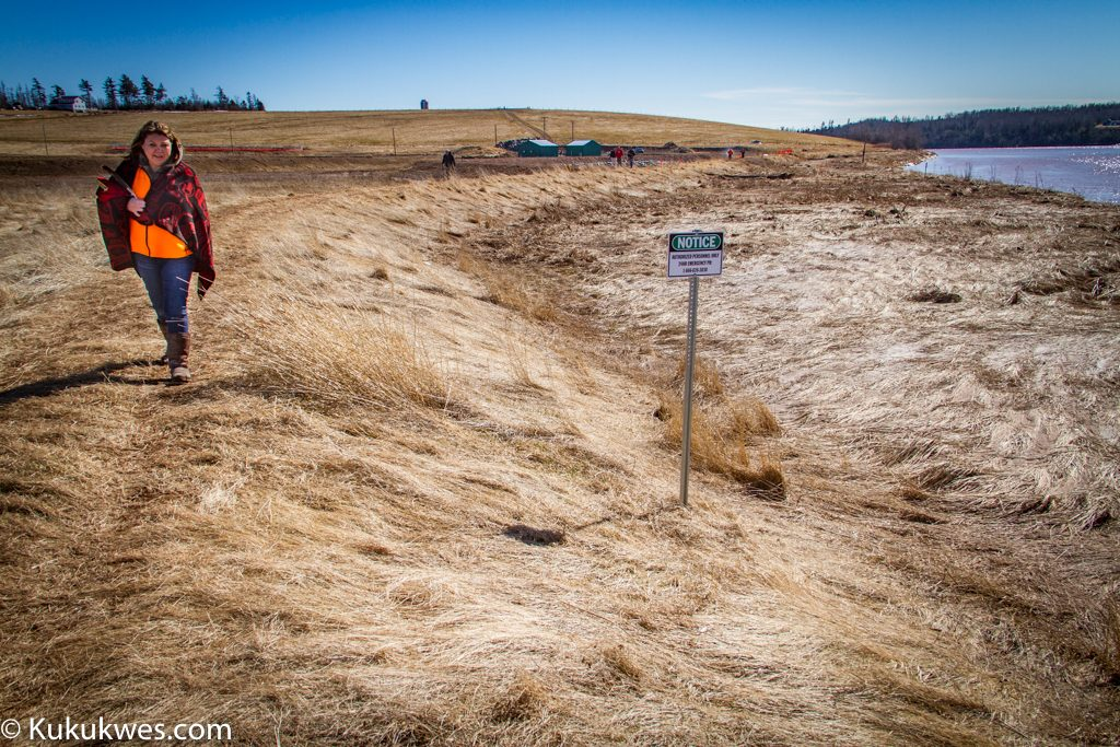 Cheryl Maloney, President of the Nova Scotia Native Women's Association, walks around the Alton Natural Gas storage site prior to a water ceremony in March 2016/Photo by Stephen Brake