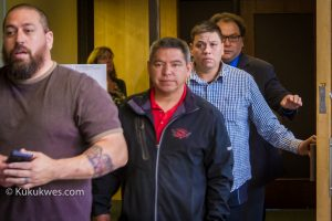 Sipekne'katik band councillors Keith Julian, middle and Thomas J. Howe, 2nd from right, attended closing statements in Jeffrey Hayes fraud trial Monday/Photo by Stephen Brake
