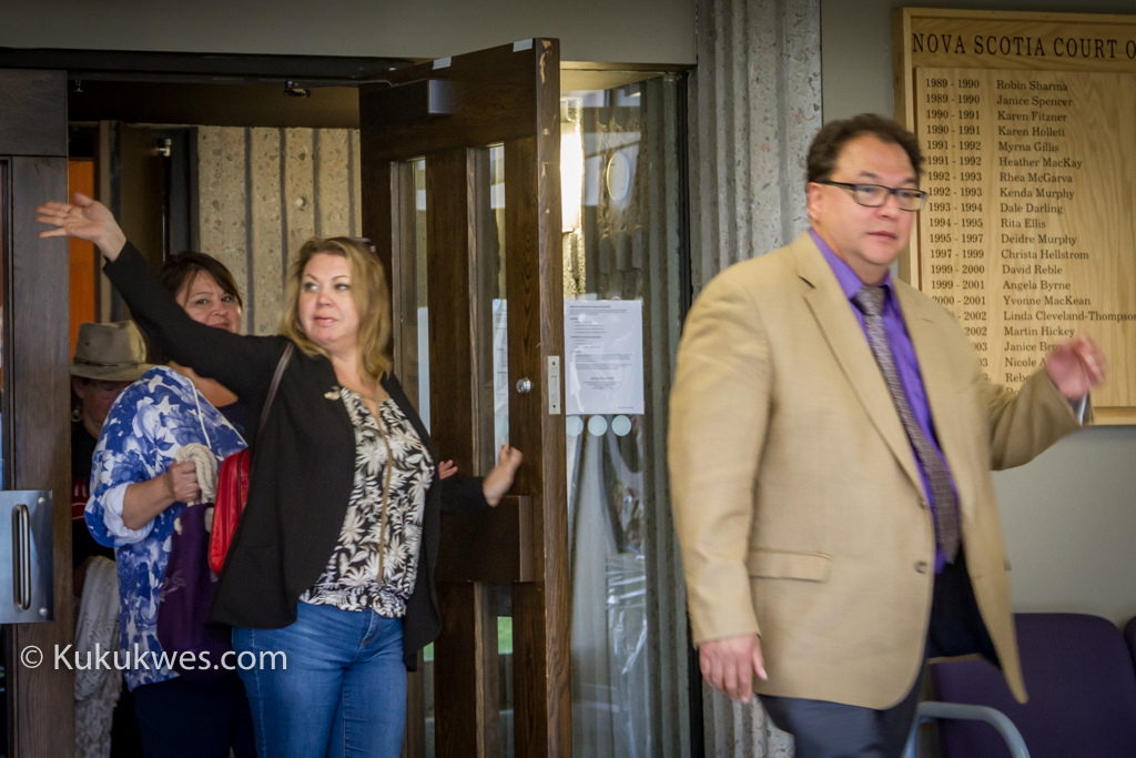 Sipekne'katik Band lawyer Jim Michael (right) and band councillor Cheryl Maloney (centre) attended the court hearing in Halifax June 22/Photo by Stephen Brake