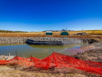 Alton Natural Gas Storage LP is constructing a holding pond in Fort Ellsi, N.S. to hold brine water before it is released into the Shubenacadie River/Photo by Stephen Brake
