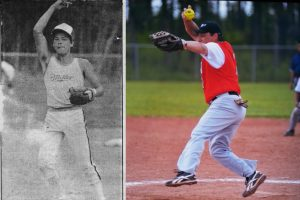 Robert Bernard was the pitcher for the Whycocomagh Warriors at the 1985 NS Summer Games in Indian Brook, N.S. He still pitches in the Master's division/Photos by Micmac News and Robert Bernard