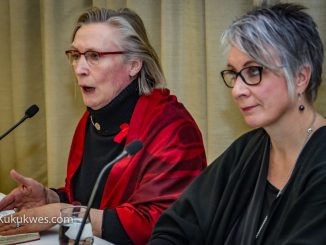 Federal ministers Carolyn Bennett (left) and Patty Hadju hold a news conference on Jan. 20 about their meeting with families in Halifax about missing and murdered indigenous women/Photo by Stephen Brake
