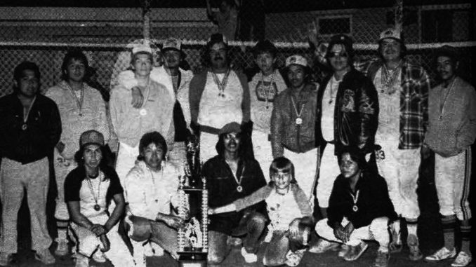 Robert Bernard, 3rd from left in back row, was the pitcher for the Whycocomagh Warriors when his team won 1st place at the 1985 Nova Scotia Indian Summer Games/Photo by Micmac News archives