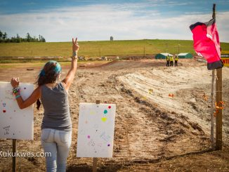 Trish MacIntyre of Halifax is one of approximately 30 protesters at the Alton Natural Gas Storage Project site in Fort Ellis, N.S./Photo by Stephen Brake