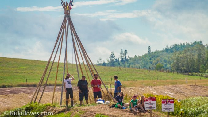 People against the Alton Natural Gas Storage project set up a teepee frame on a man-made island on the Alton site Sunday/Photo by Stephen Brake