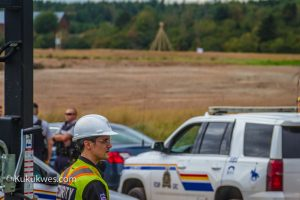 Five RCMP vehicles were parked at the Alton site entrance and talking with security Sunday/Photo by Stephen Brake