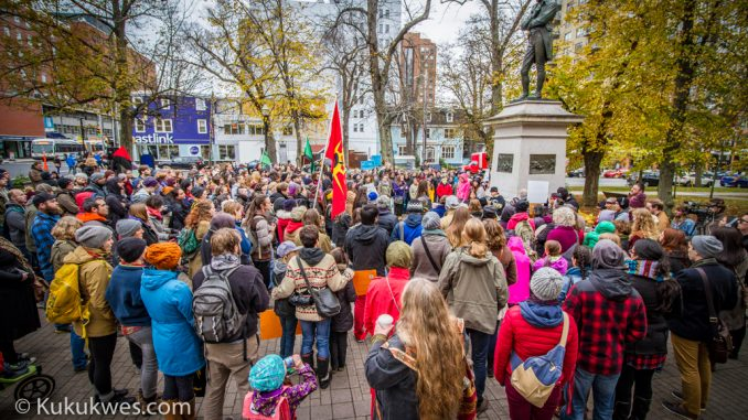 Approximately 200 people gathered at Victoria Park In Halifax for a rally before marching to the Halifax Commons to show solidarity with the Standing Rock Sioux Tribe's opposition to the Dakota Access Pipeline in North Dakota/Photo by Stephen Brake