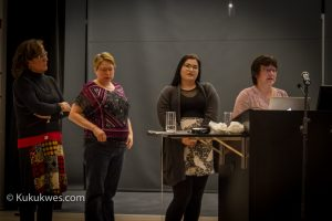 From left, Diana Lewis, Kim Strickland, Lexy Francis and Sheila Francis at a panel discussion in Halifax Nov. 30/Photo by Stephen Brake