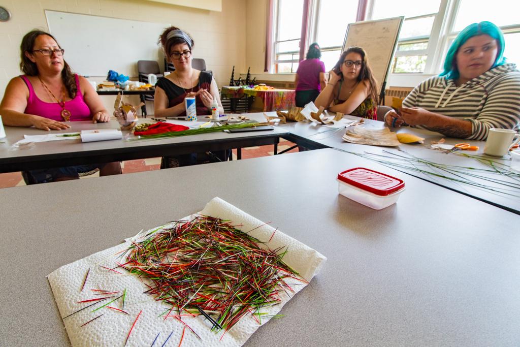 Participants at Mi'kmaq Quillwork Workshop